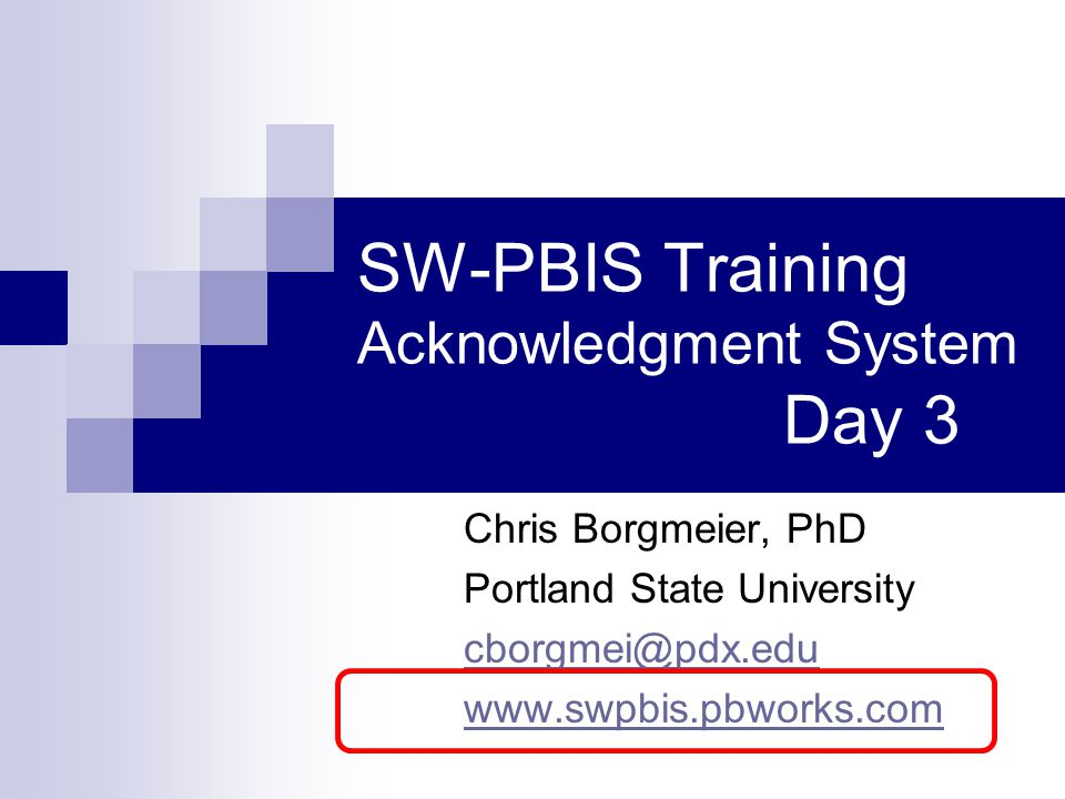 SW-PBIS Training Acknowledgment System Day 3