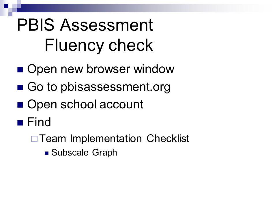 PBIS Assessment Fluency check