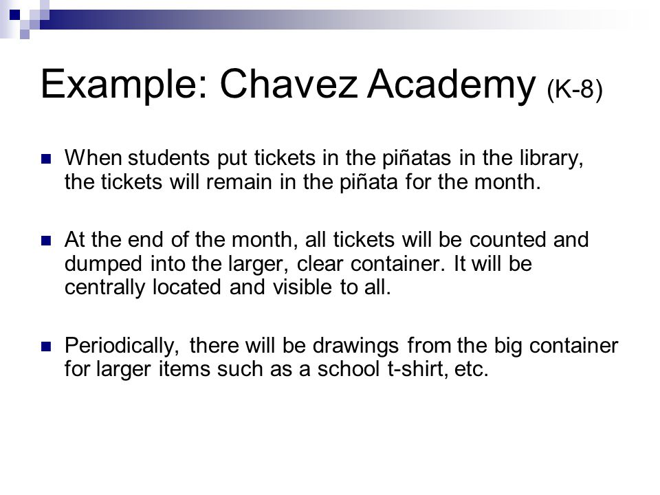 Example: Chavez Academy (K-8)