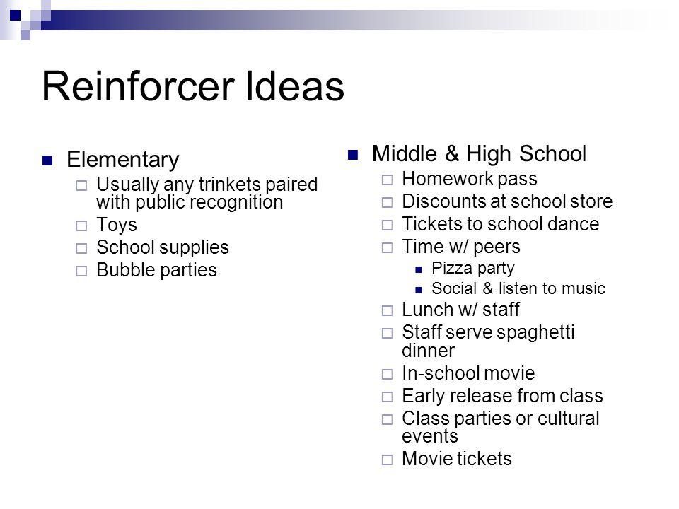 Reinforcer Ideas Middle & High School Elementary Homework pass