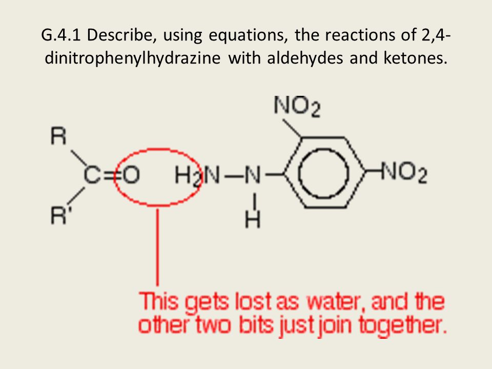 G.4.1 Describe, using equations, the reactions of 2,4-dinitrophenylhydrazine with aldehydes and ketones.