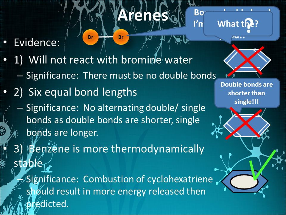Arenes Evidence: 1) Will not react with bromine water
