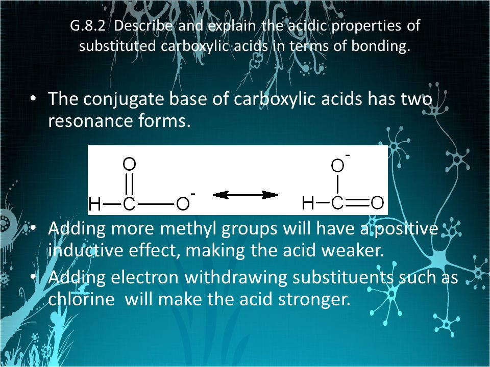 The conjugate base of carboxylic acids has two resonance forms.