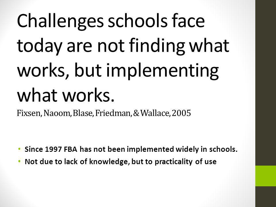Challenges schools face today are not finding what works, but implementing what works. Fixsen, Naoom, Blase, Friedman, & Wallace, 2005