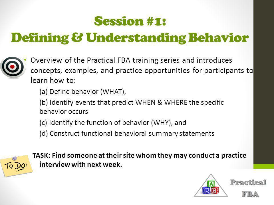 Session #1: Defining & Understanding Behavior