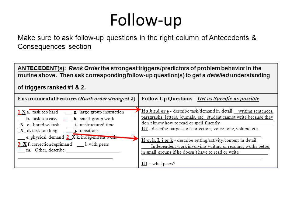 Follow-up Make sure to ask follow-up questions in the right column of Antecedents & Consequences section.