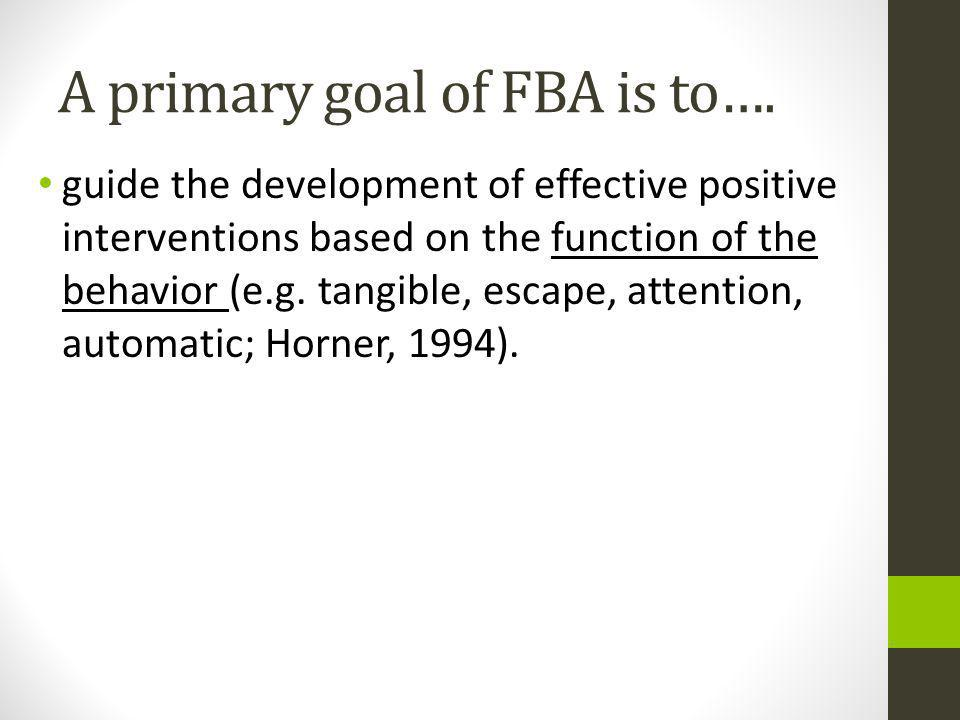 A primary goal of FBA is to….