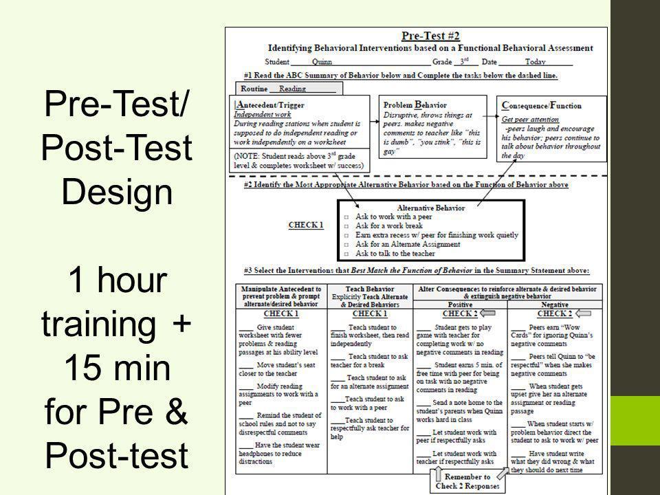 Pre-Test/ Post-Test Design