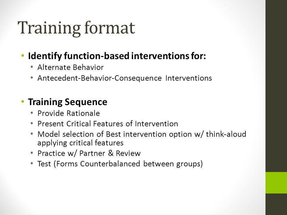 Training format Identify function-based interventions for: