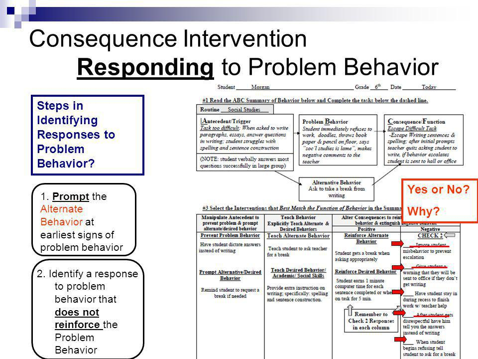 Consequence Intervention Responding to Problem Behavior