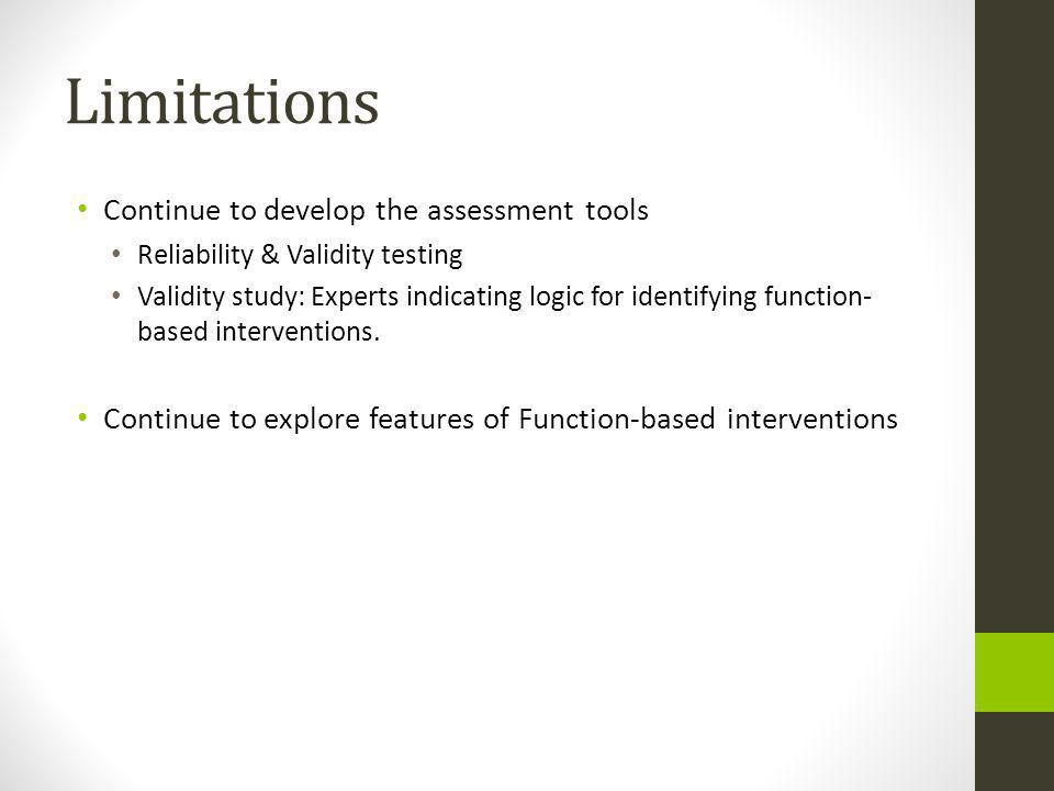 Limitations Continue to develop the assessment tools