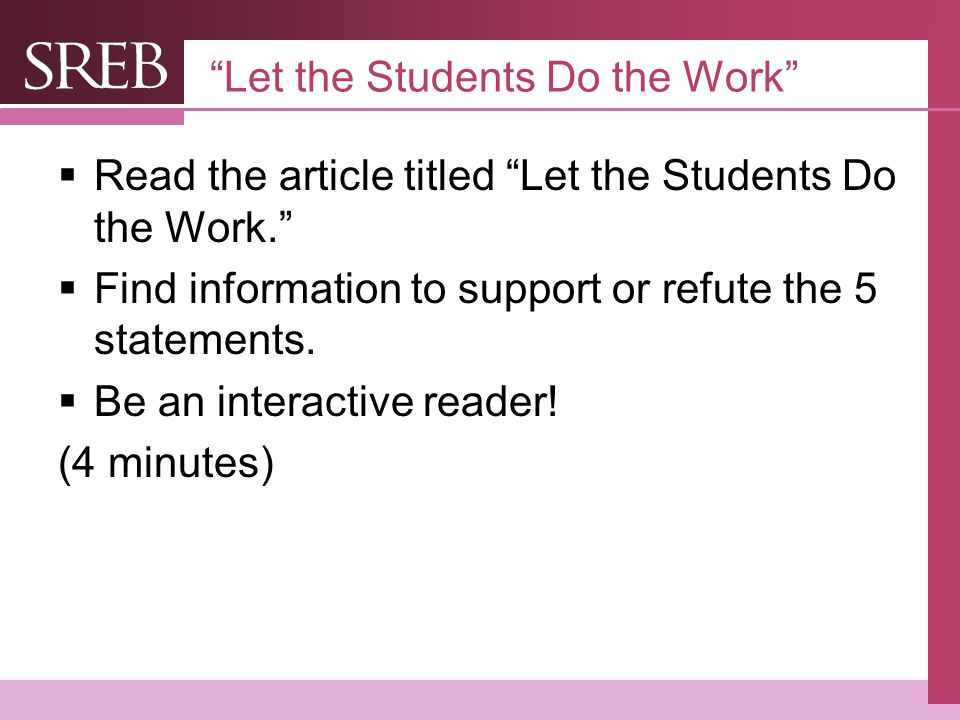 Let the Students Do the Work