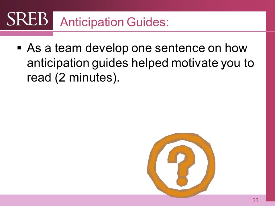 Anticipation Guides: As a team develop one sentence on how anticipation guides helped motivate you to read (2 minutes).