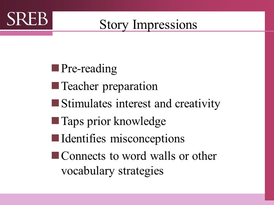 Story Impressions Pre-reading Teacher preparation