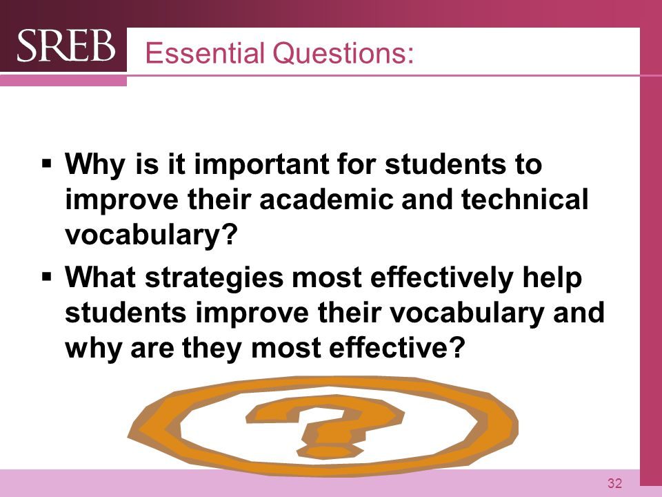 Essential Questions: Why is it important for students to improve their academic and technical vocabulary