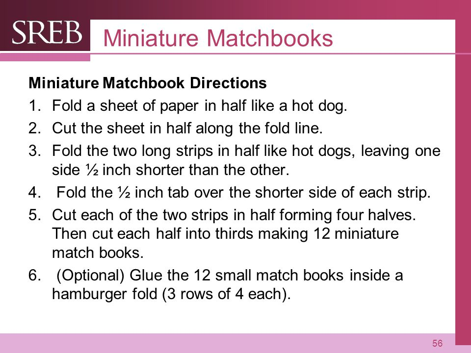 Miniature Matchbooks Miniature Matchbook Directions