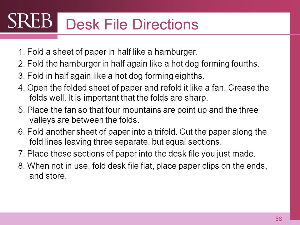 Desk File Directions