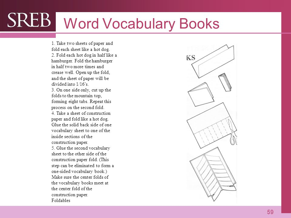 Word Vocabulary Books 1. Take two sheets of paper and