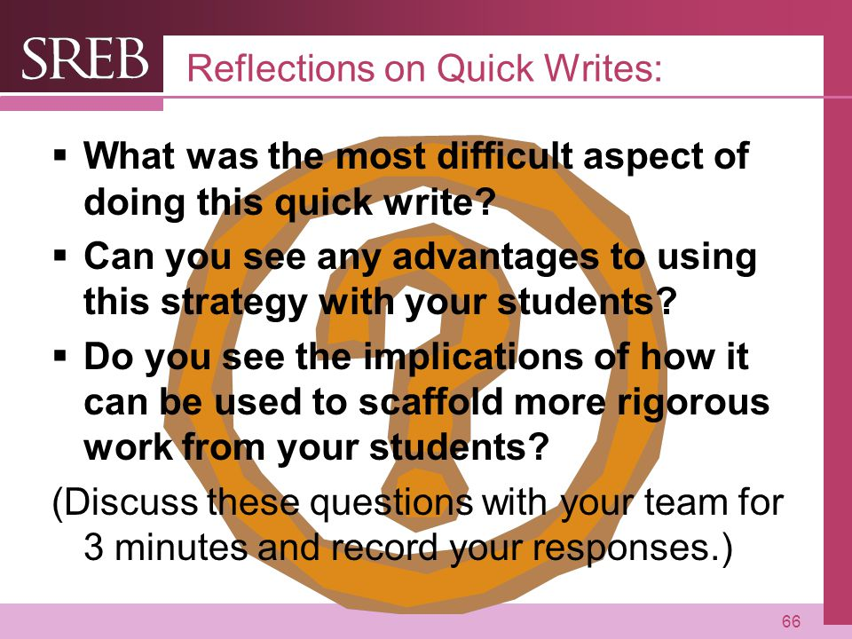 Reflections on Quick Writes: