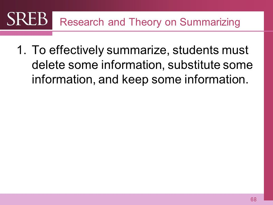 Research and Theory on Summarizing
