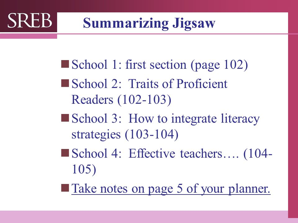Summarizing Jigsaw School 1: first section (page 102)