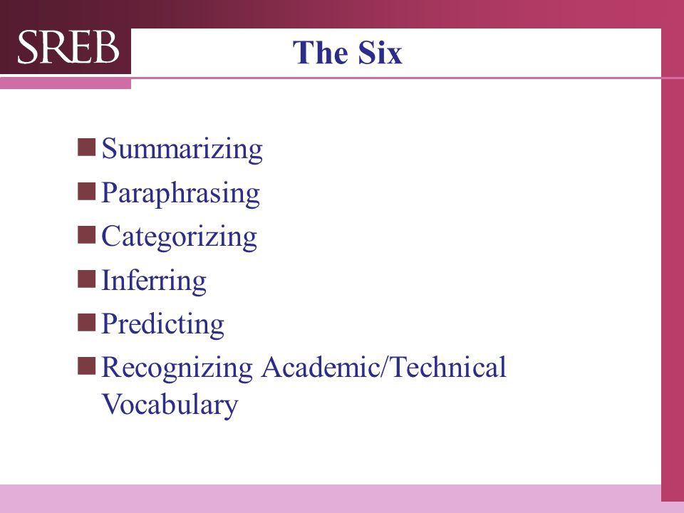 The Six Summarizing Paraphrasing Categorizing Inferring Predicting