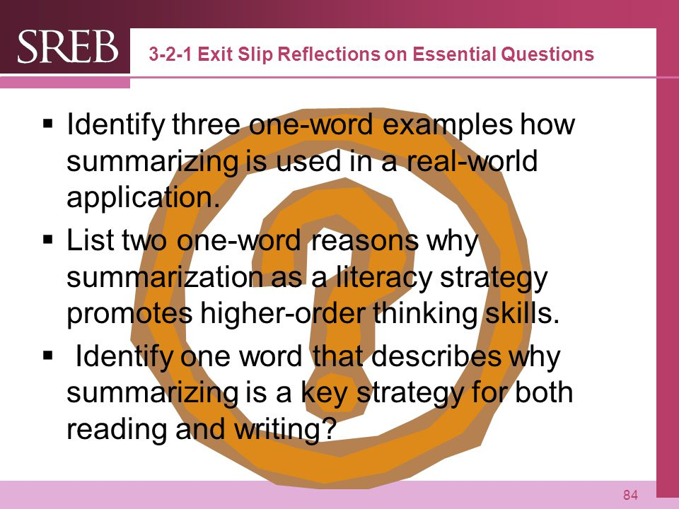 3-2-1 Exit Slip Reflections on Essential Questions
