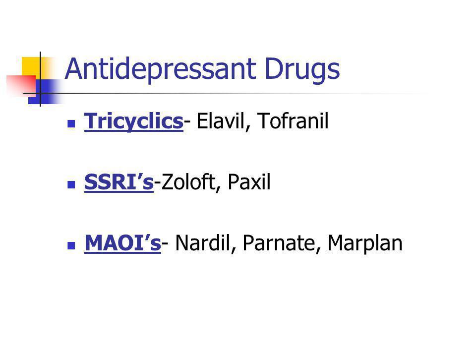 Antidepressant Drugs Tricyclics- Elavil, Tofranil SSRI's-Zoloft, Paxil