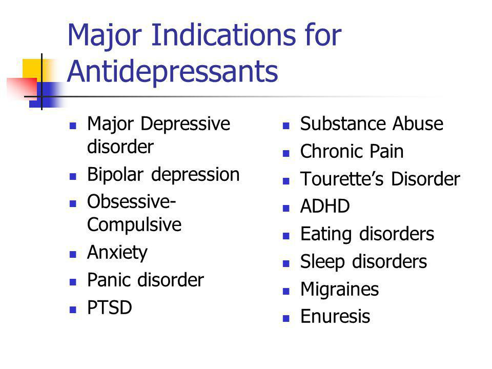 Major Indications for Antidepressants
