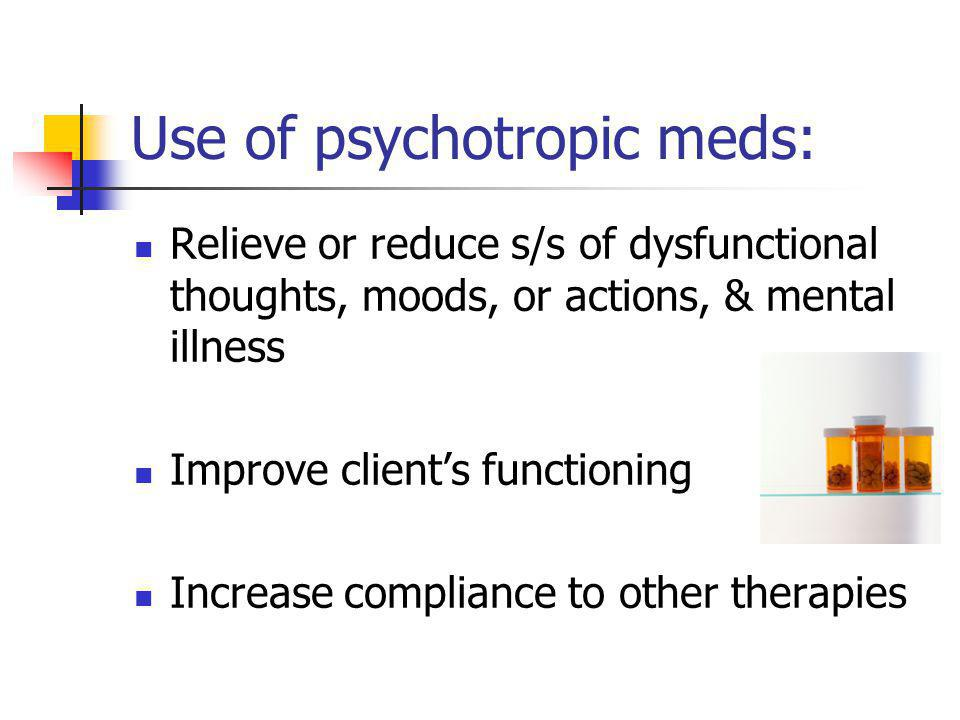 Use of psychotropic meds: