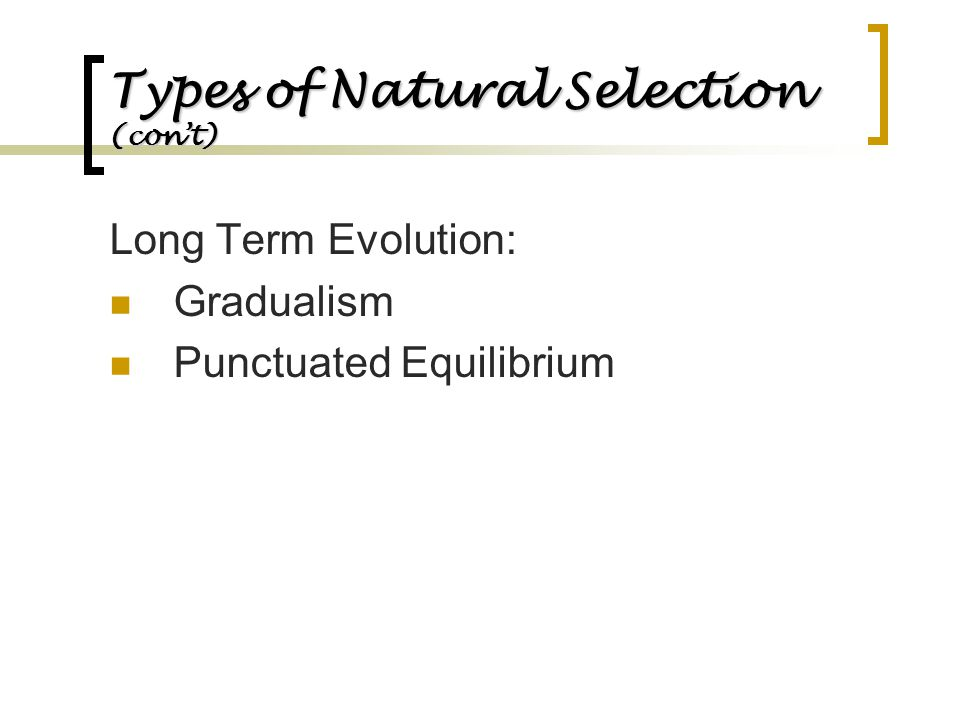 Types of Natural Selection (con't)