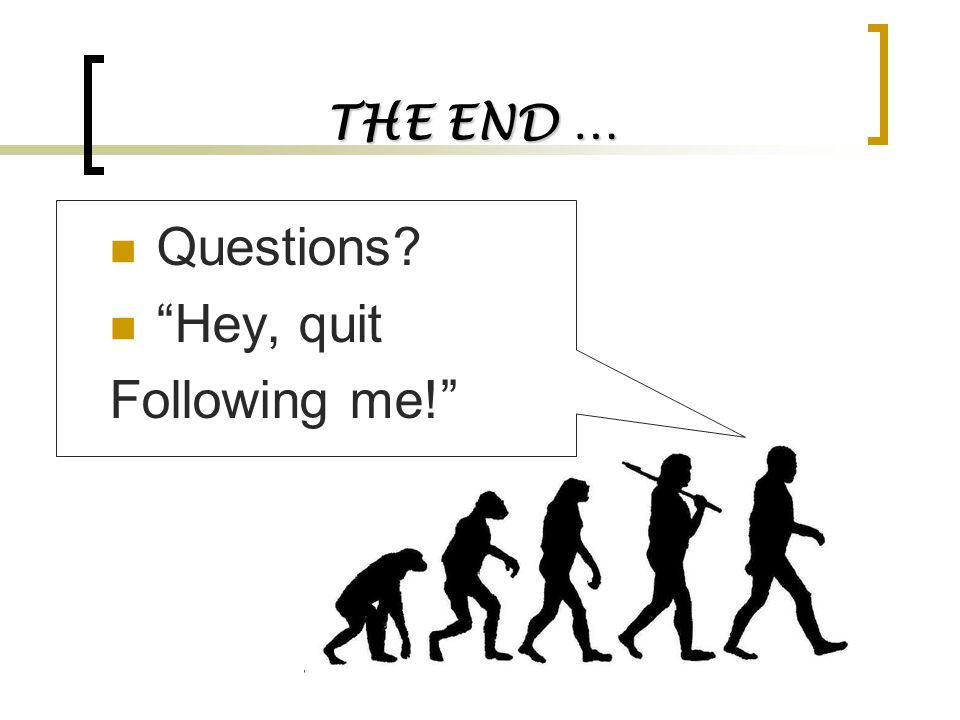 THE END … Questions Hey, quit Following me!