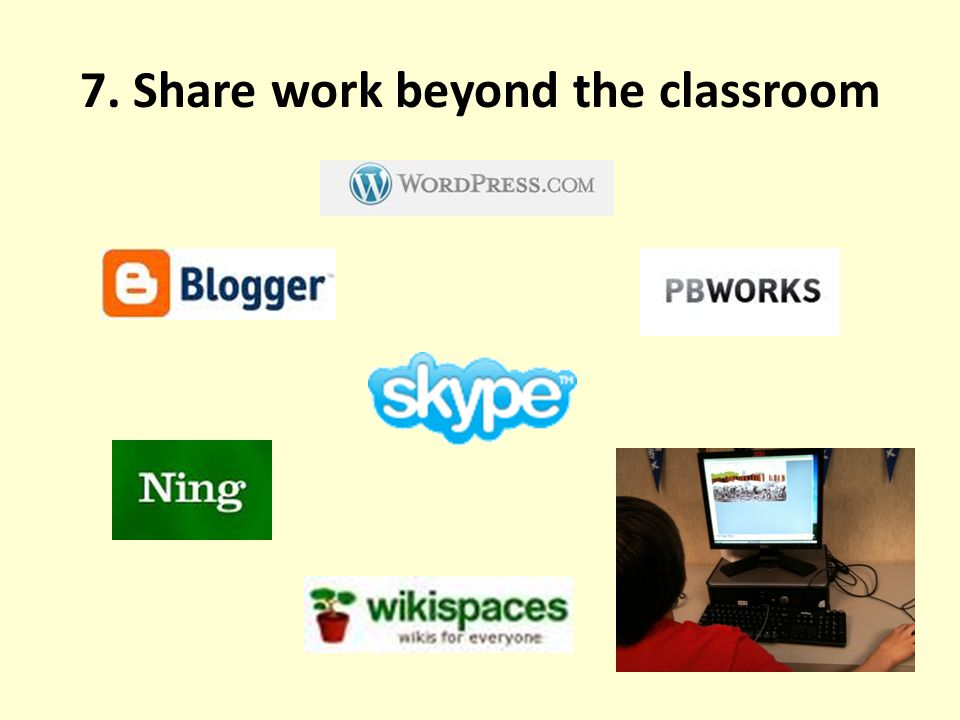 7. Share work beyond the classroom