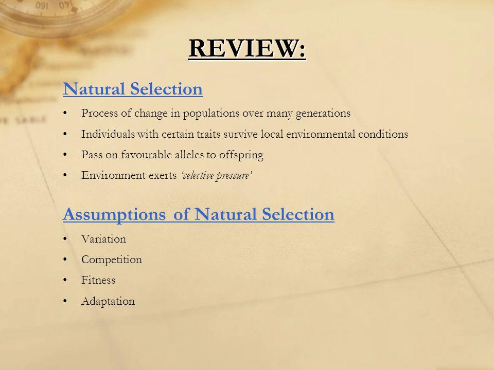 REVIEW: Natural Selection Assumptions of Natural Selection