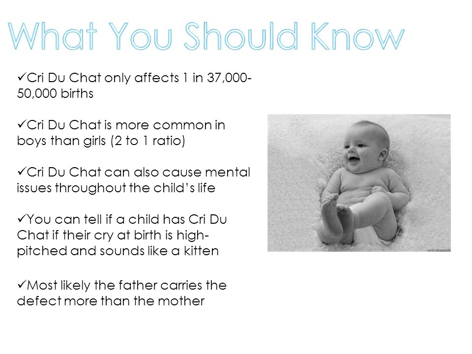 What You Should Know Cri Du Chat only affects 1 in 37,000-50,000 births. Cri Du Chat is more common in boys than girls (2 to 1 ratio)