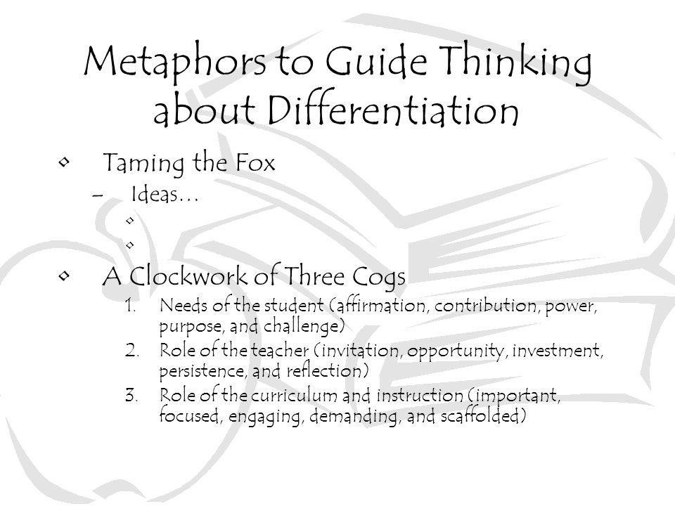 Metaphors to Guide Thinking about Differentiation
