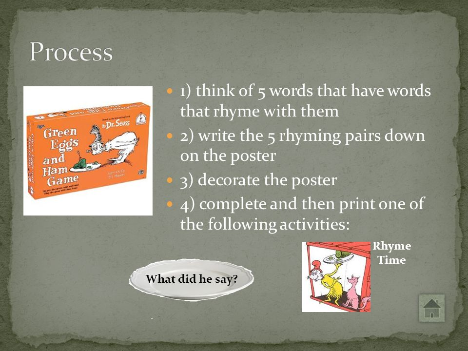 Process 1) think of 5 words that have words that rhyme with them