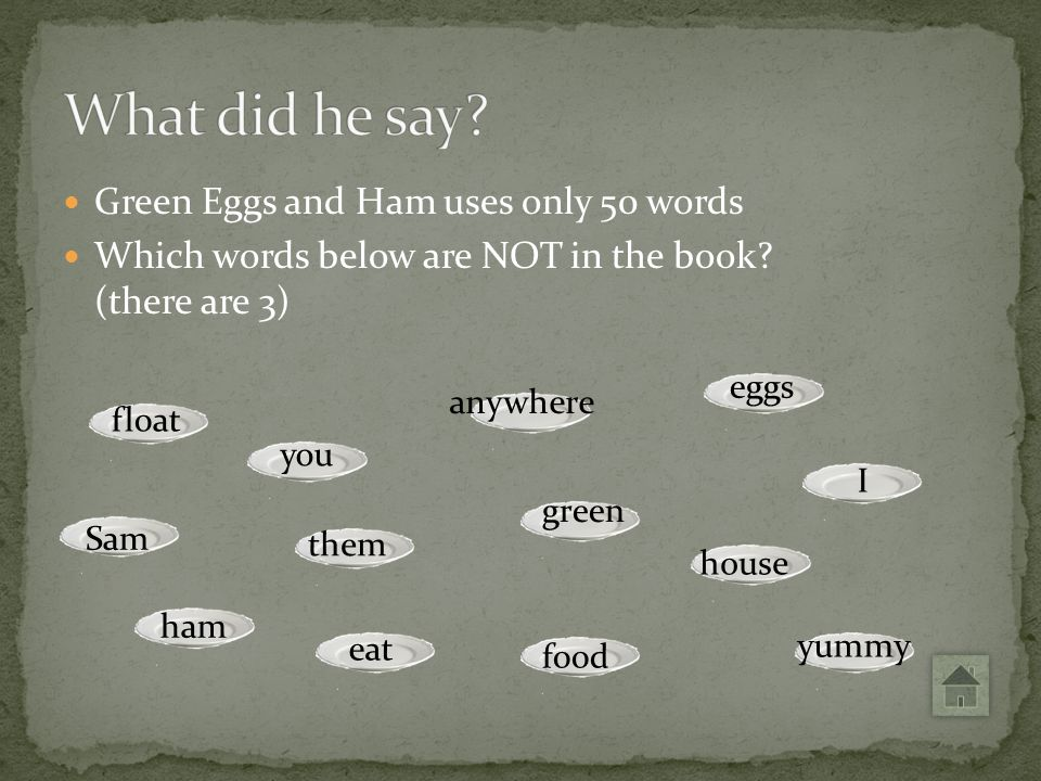 What did he say Green Eggs and Ham uses only 50 words