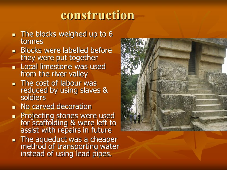 construction The blocks weighed up to 6 tonnes