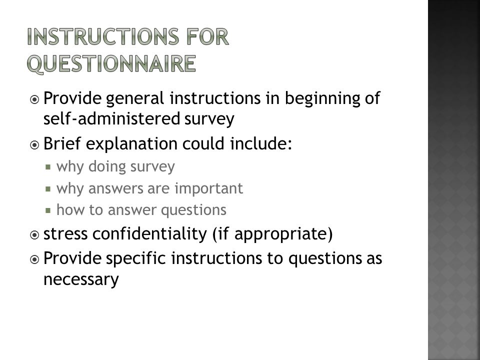 Instructions for Questionnaire