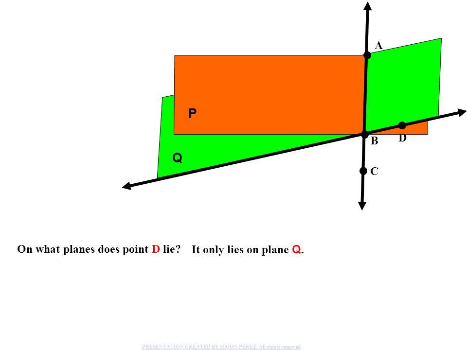 P Q A D B C On what planes does point D lie It only lies on plane Q.