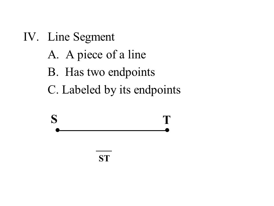 ∙ ∙ Line Segment A. A piece of a line B. Has two endpoints