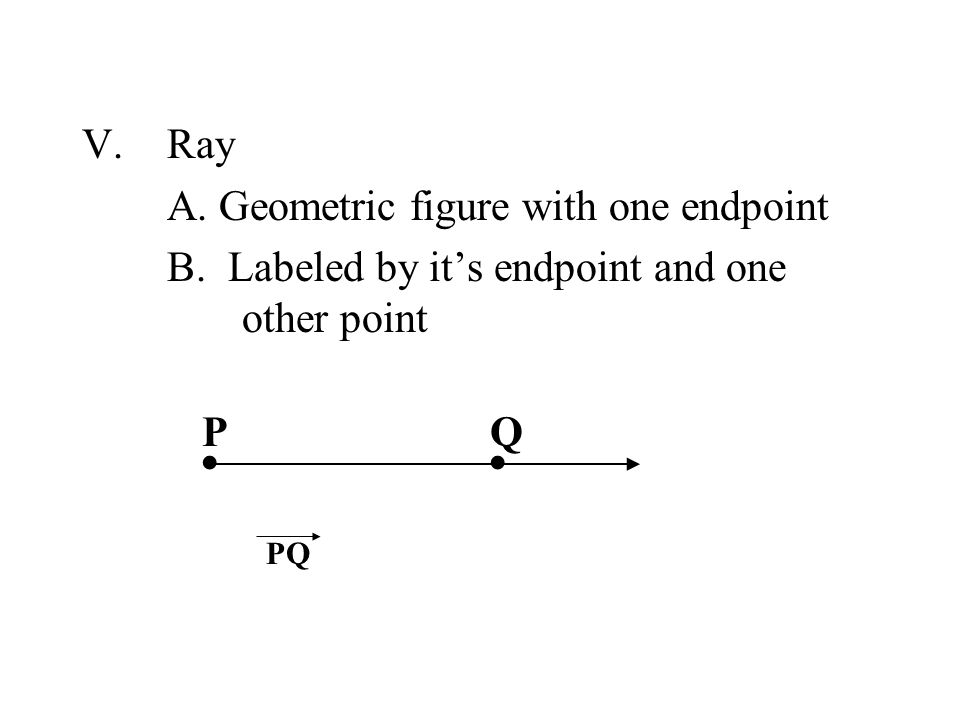 ∙ ∙ Ray A. Geometric figure with one endpoint