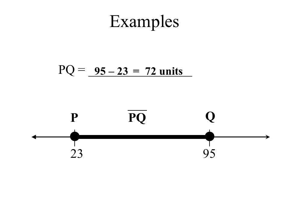 Examples PQ = ________________ 95 – 23 = 72 units P PQ Q • • 23 95
