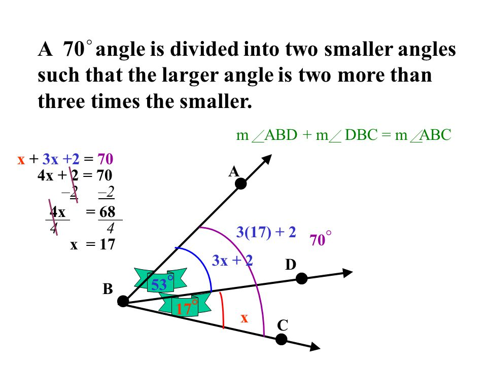 A 70 angle is divided into two smaller angles such that the larger angle is two more than three times the smaller.
