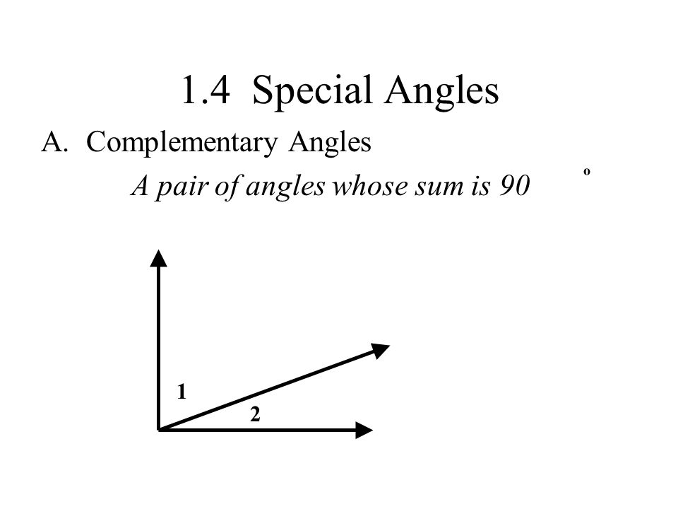 1.4 Special Angles Complementary Angles