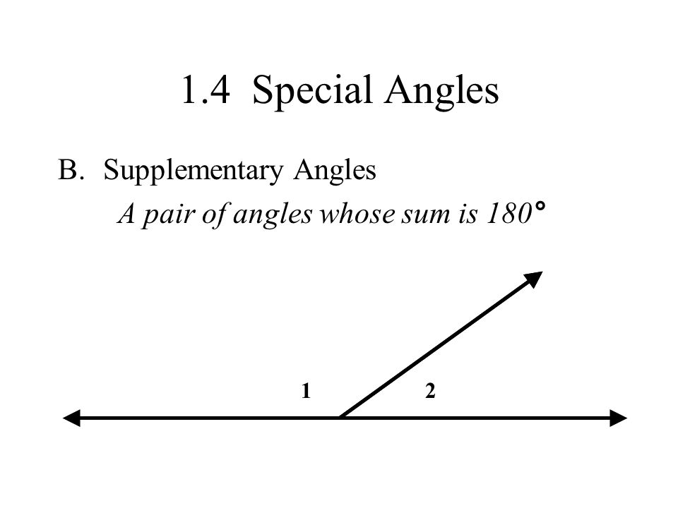 1.4 Special Angles Supplementary Angles