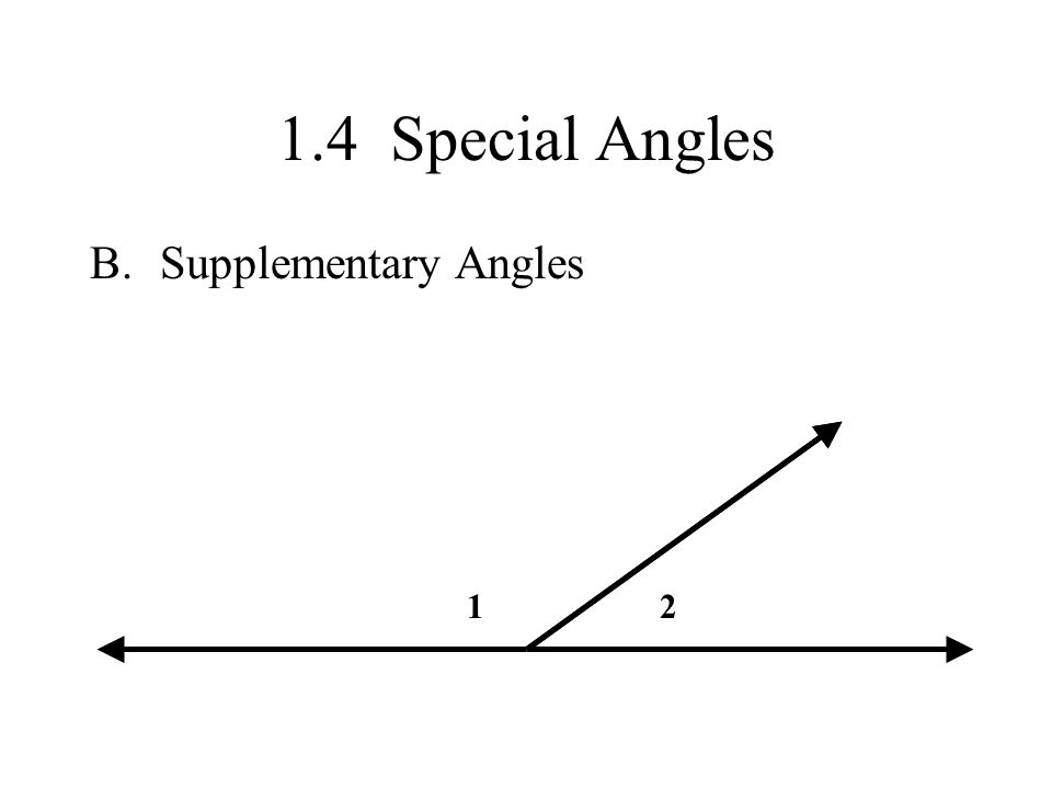 1.4 Special Angles Supplementary Angles 1 2