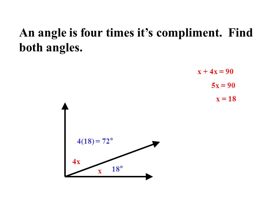 An angle is four times it's compliment. Find both angles.