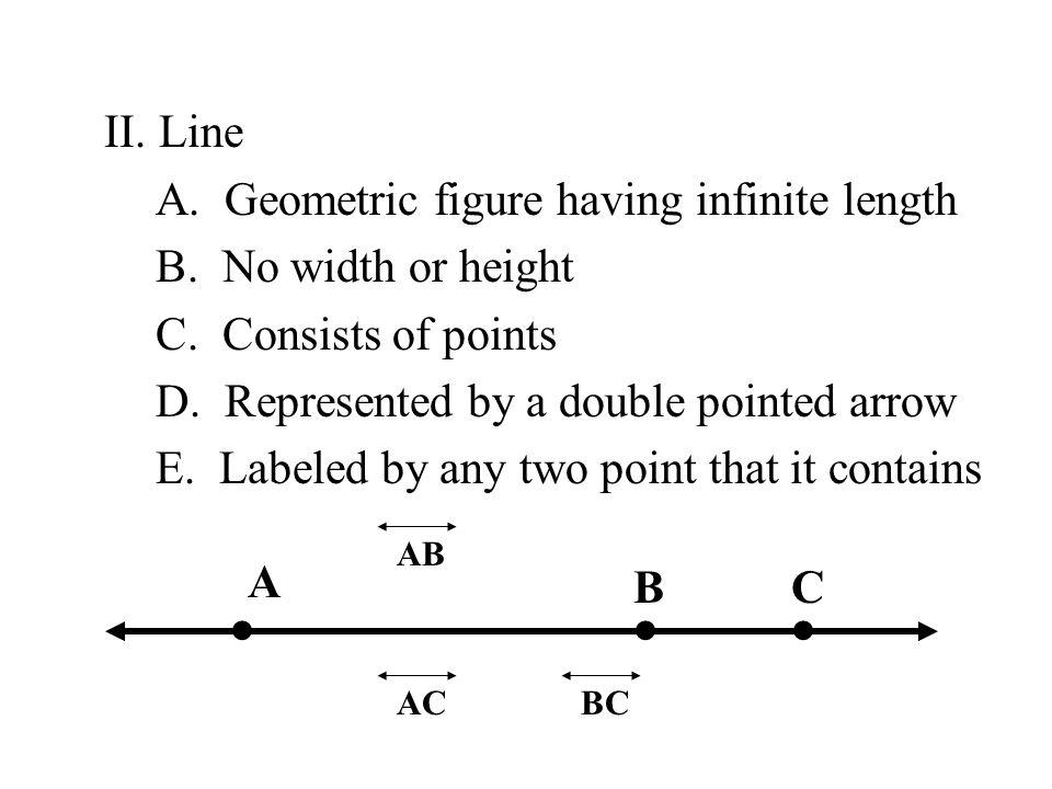 • • • II. Line A. Geometric figure having infinite length